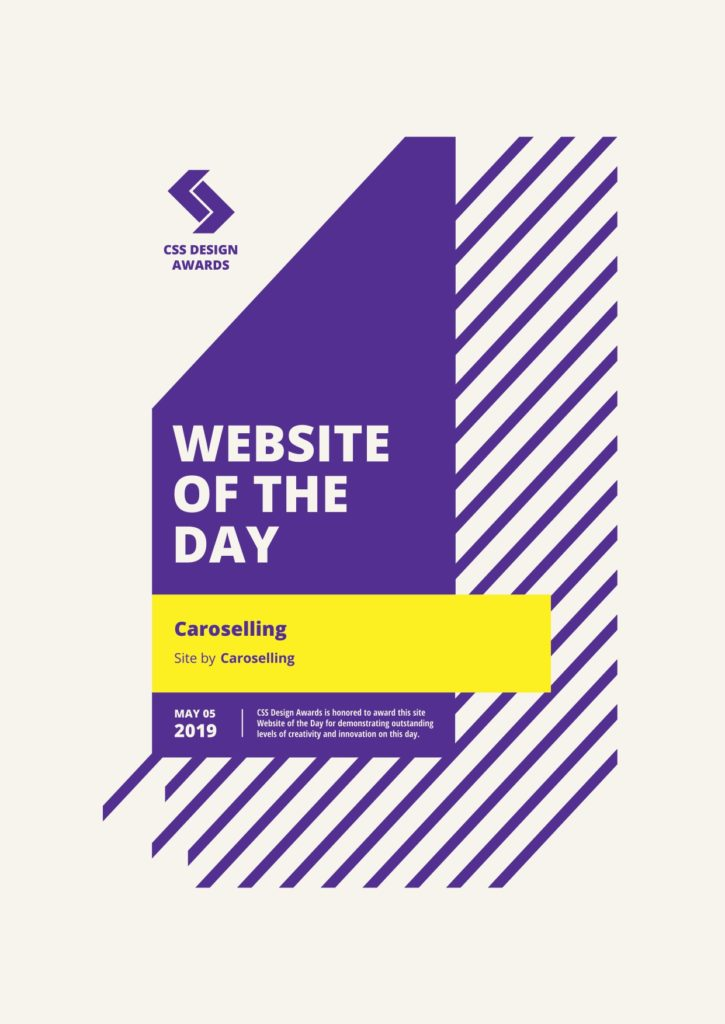 website of the day | CSS design awards | premi sito | studio creativo caroselling | design e comunicazione mantova