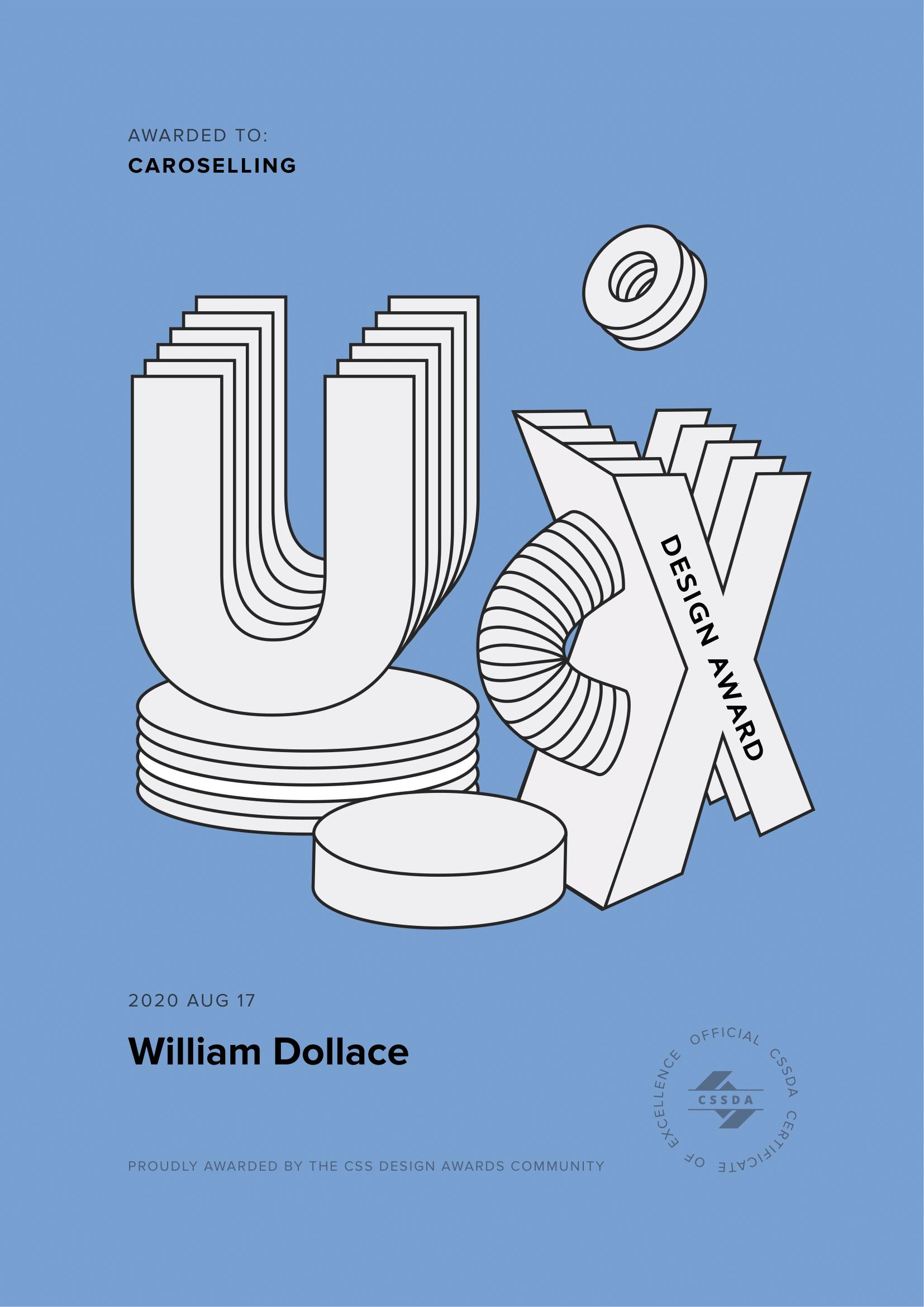 william dollace | premio | awards | sito web | portfolio Caroselling